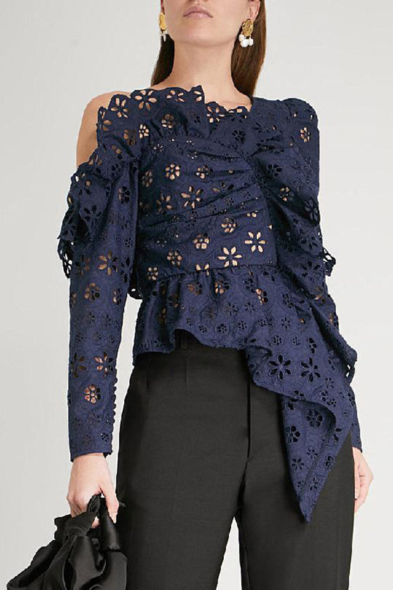 Navy Lacy Top Stylish Women's Tops
