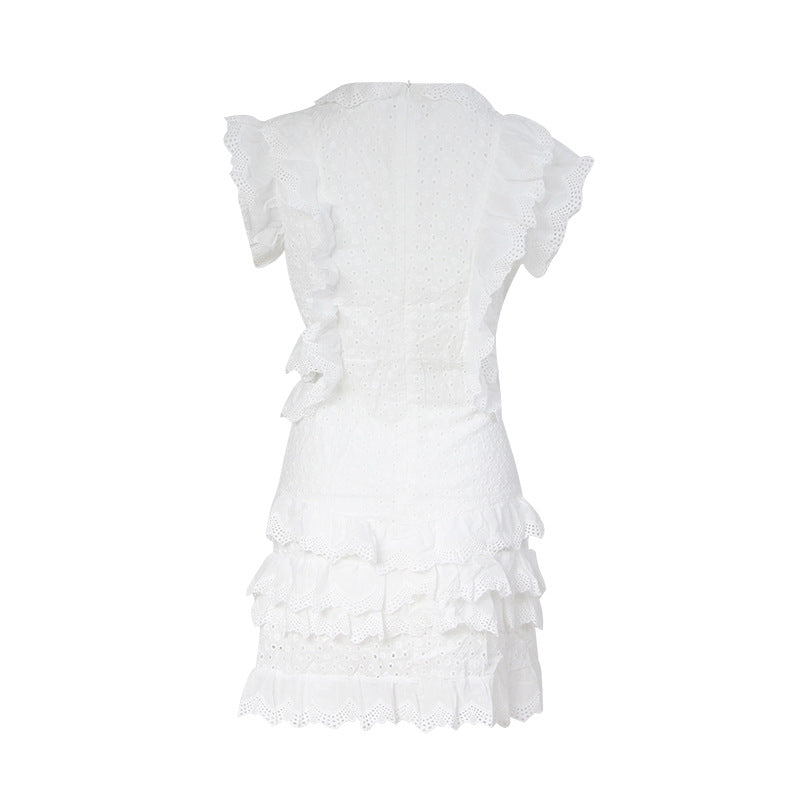 Female Ruffled Straps Short Sleeveless Dress