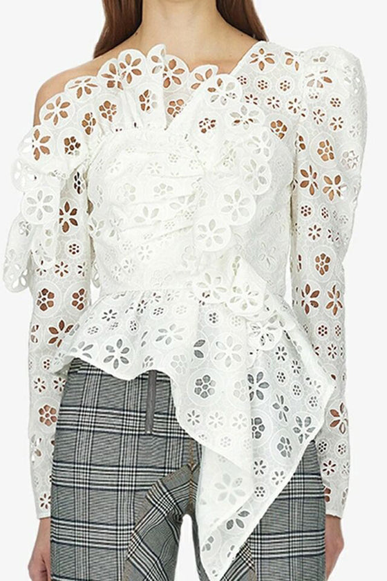 White Floral Top Stylish Women's Tops
