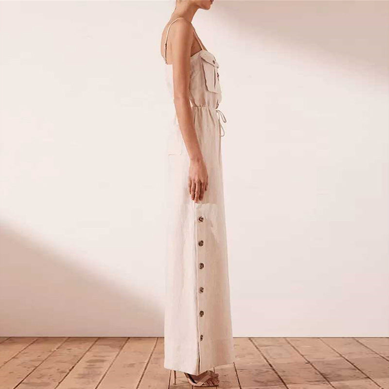 Fashion Sling Casual One-piece Wide-leg Pants