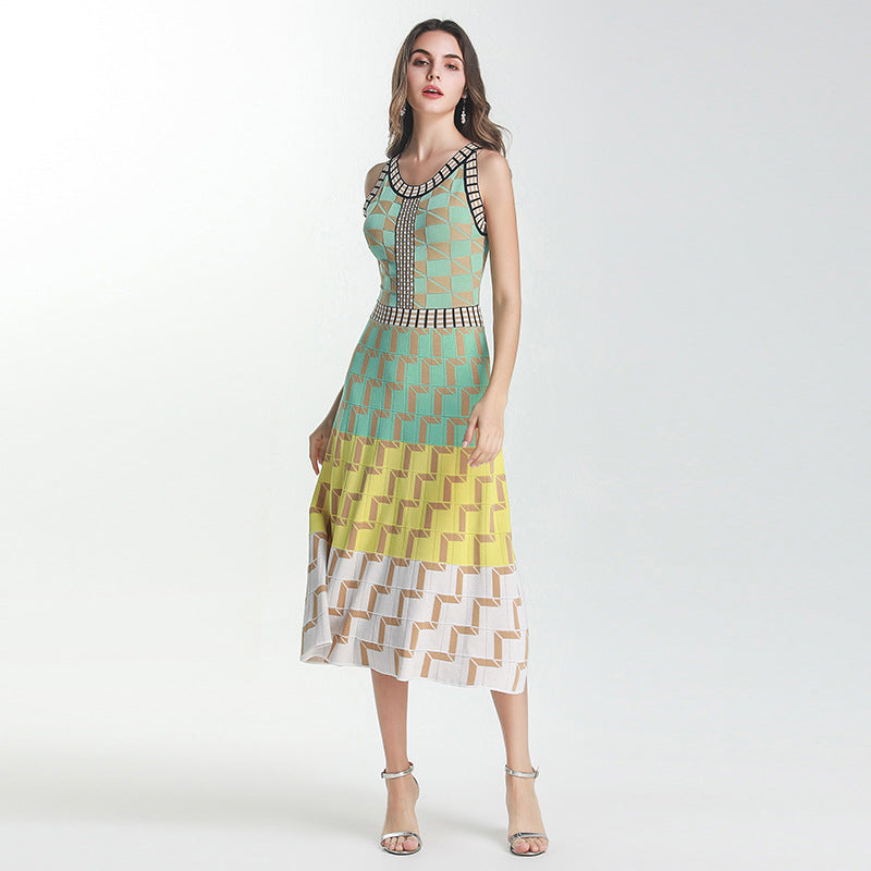 Women's Sleeveless Jacquard  Knit Dress