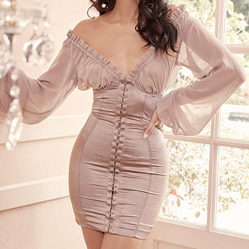 Mesh Sexy Perspective Wooden Ear Bag Hip Slim Dress