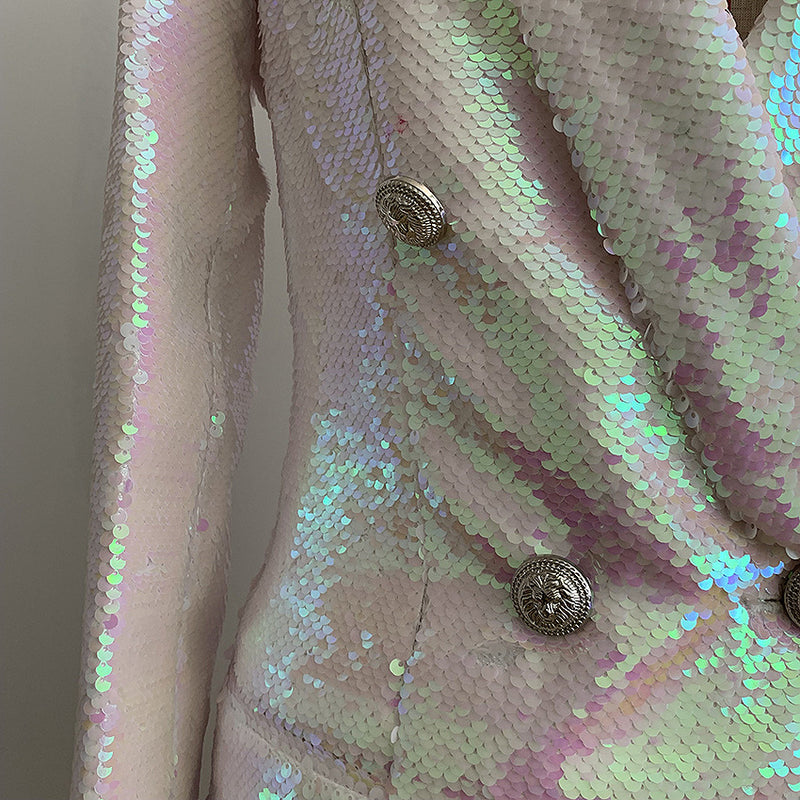 Double Row Shiny Beads Sequins Slim Long Suit