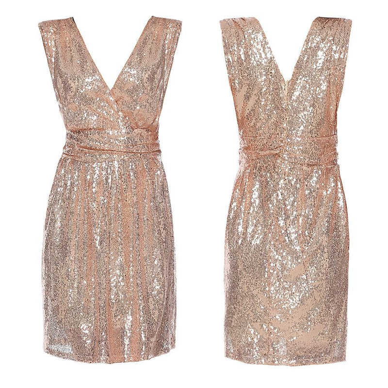 Sleeveless Mid-length Sequined Mini Dress