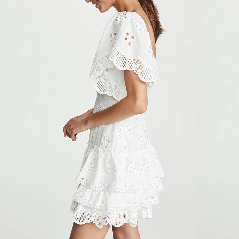 Hollow Waist Short-sleeved Layer Dress