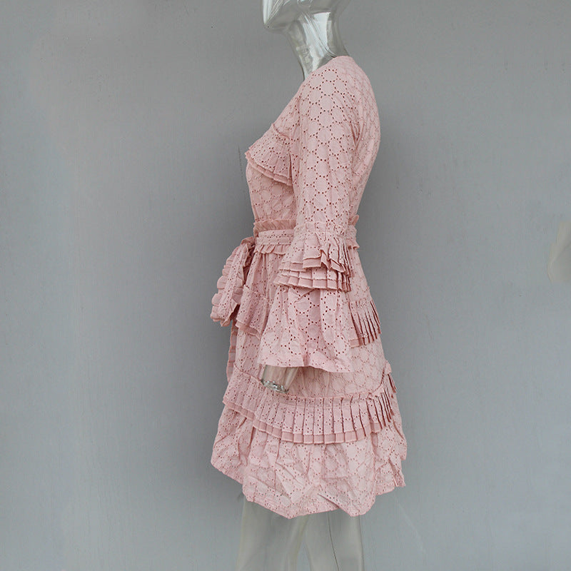 V-neck Hollow Embroidery Trumpet Sleeves Dress