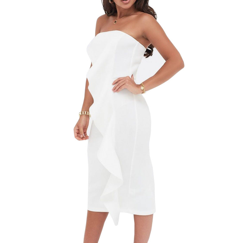 Women's Wrapped Chest Sexy Ruffled Dress