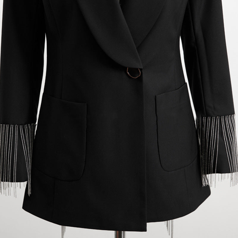 Backless Irregular Tassel Chain Suit Jacket