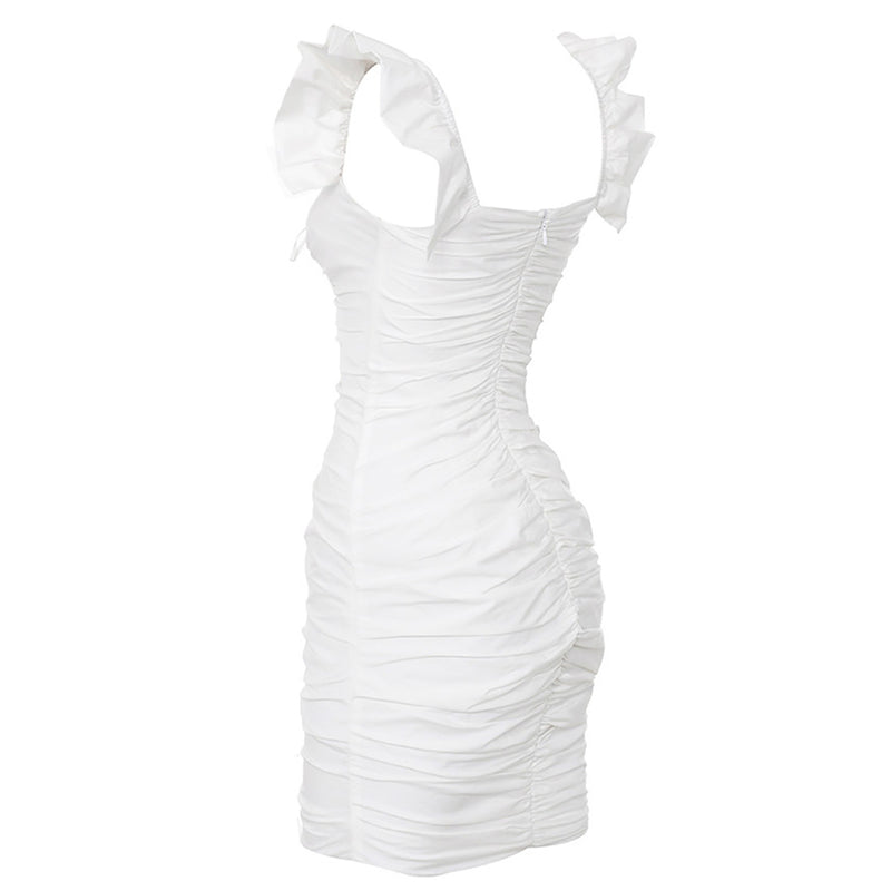 Ruffled Deep V Wrapped Chest Strap With Hip Dress