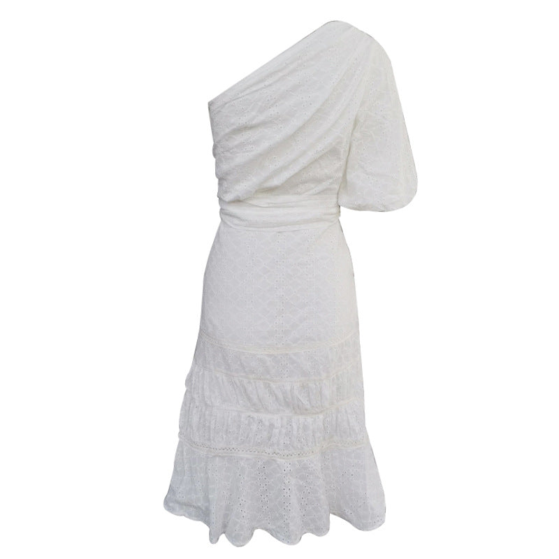 Lanterns Sleeves Bare Shoulder Ruffled Hollow Tie Dress