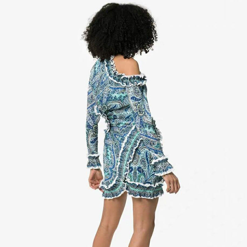 Long Sleeve Irregular Print Dress Female