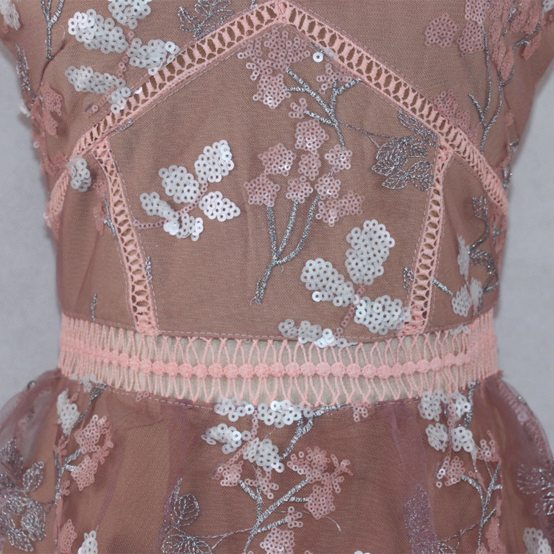 Embroidery Stitching Layer Cake Sling Long Dress