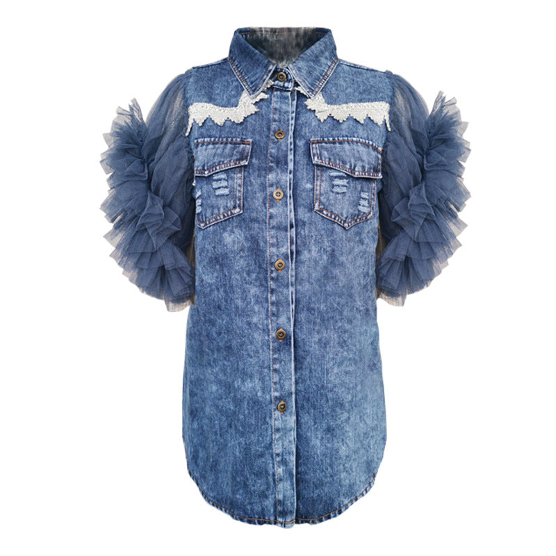 Net Yarn Sleeves Trend Worn Denim Shirt