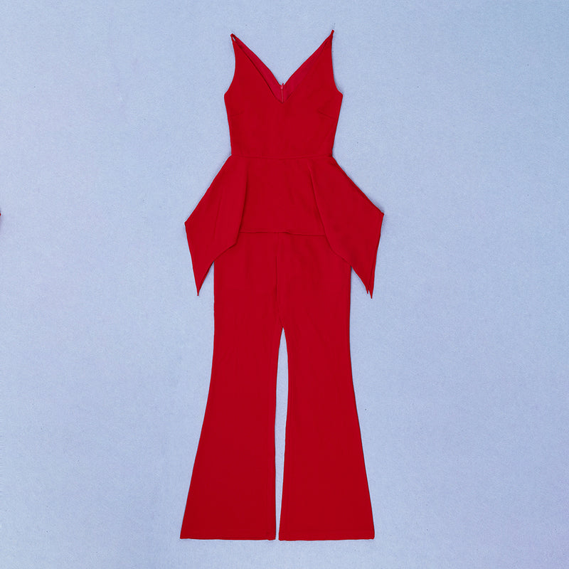 V Neck Sleeveless Red Jumpsuit
