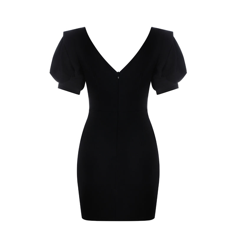 Short Sleeve V-neck Solid Casual Dress