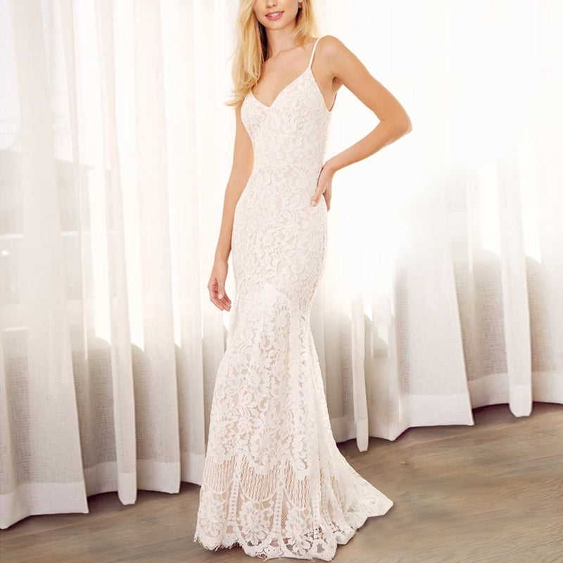 Women's White Strap Lace Wedding Dress