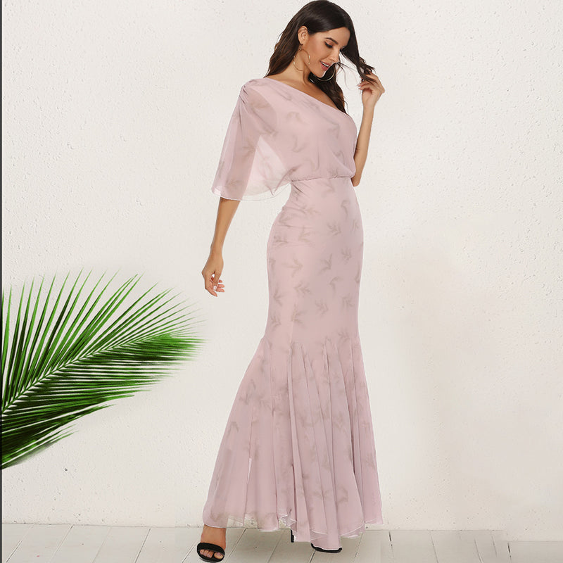 Elegant Sloping Shoulder Fishtail Dress
