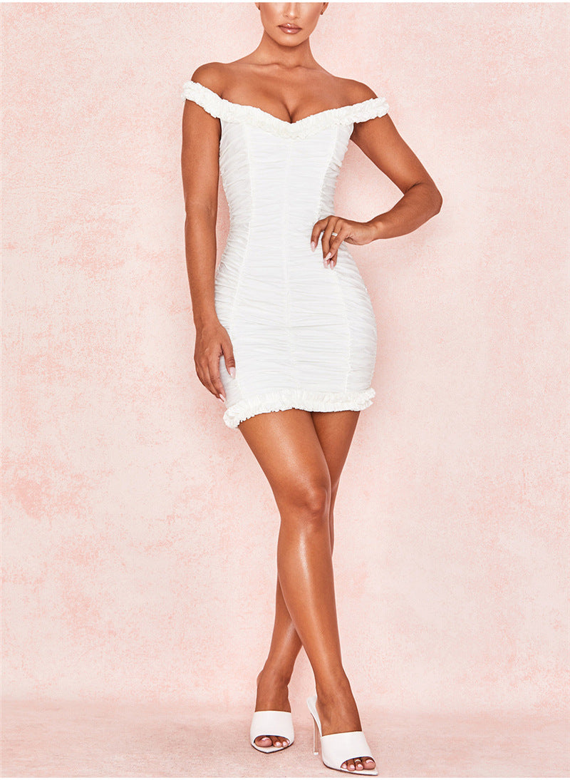 Sexy Pleated Bag Hip Word Collar Short Dress