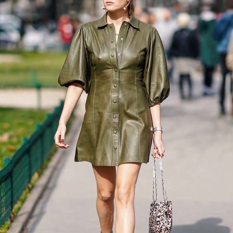Pockets Avocado Green Temperament PU Dress