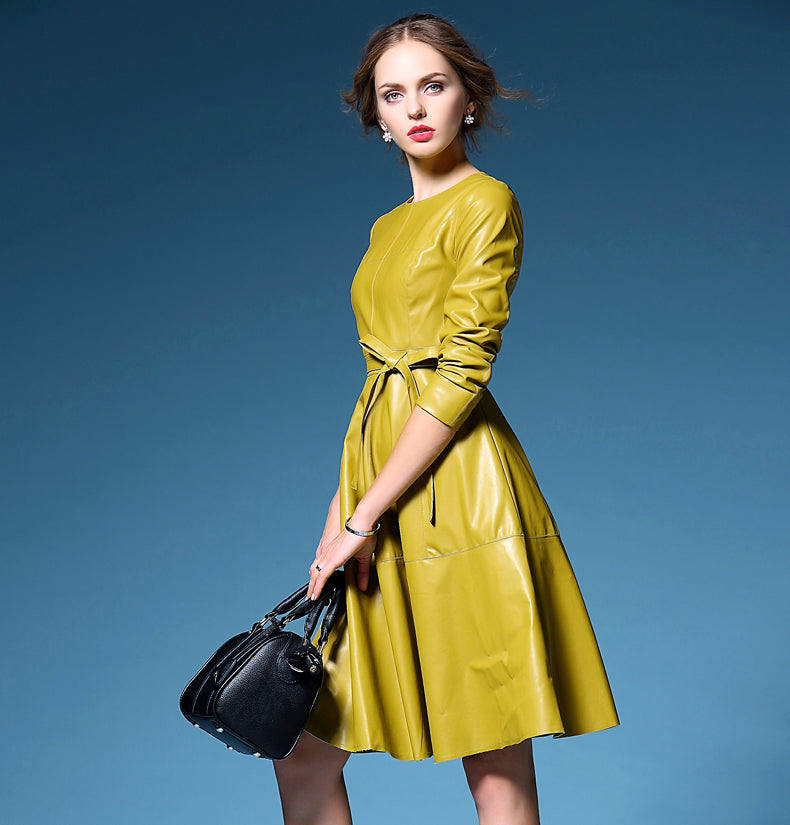Long sleeves A line Leather Dress