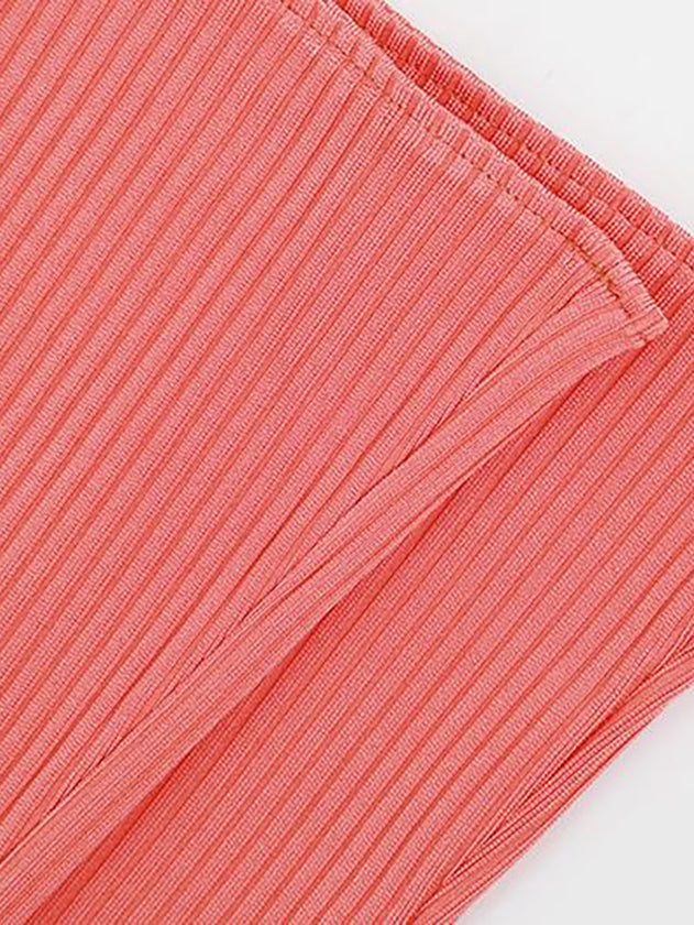 Coral Ribbed Bandage Trousers Two Pieces-Set