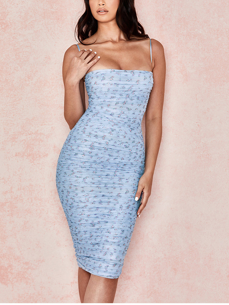 Mesh Women Dress Summer 2020 Spaghetti Straps Knee-length Elegant Dress Slim Fit Floral Print Ruched Dresses Blue