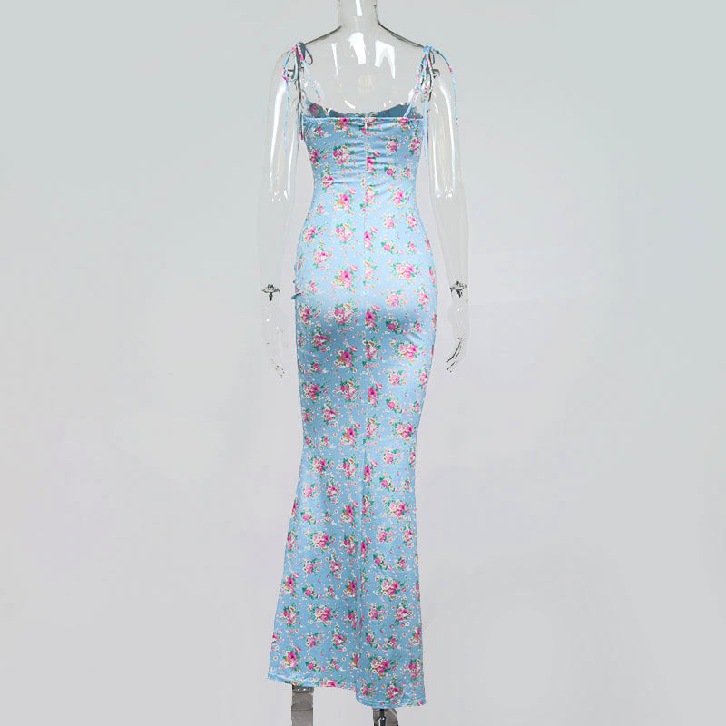 Summer Woman Blue Floral Dress Sexy Backless Sleeveless Bandage Ruched Maxi Dresses for Women Party Chic Lady Clothes