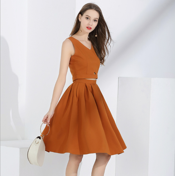 Set Fashion Two-piece Sleeveless Vest + Skirt