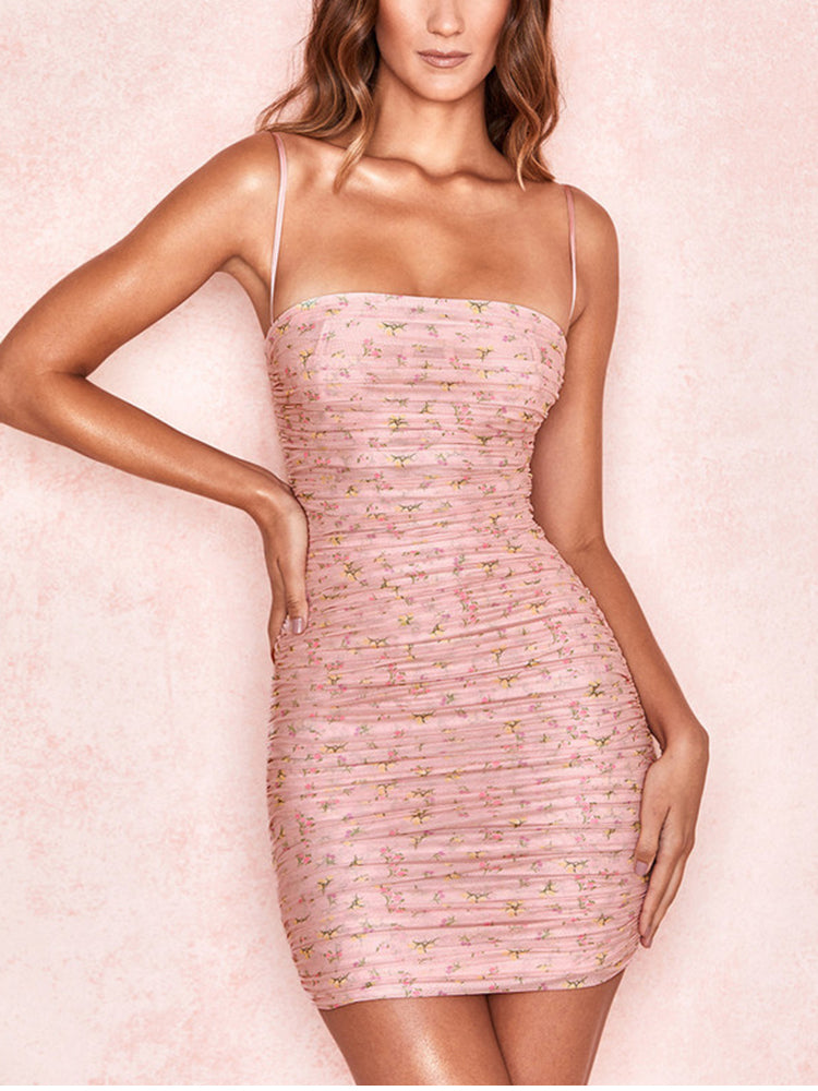 Women Dress Summer 2020 Sexy Spaghetti Straps Backless Pleated Ruched Mech Dress Casual Sweet Print Bodycon Dress