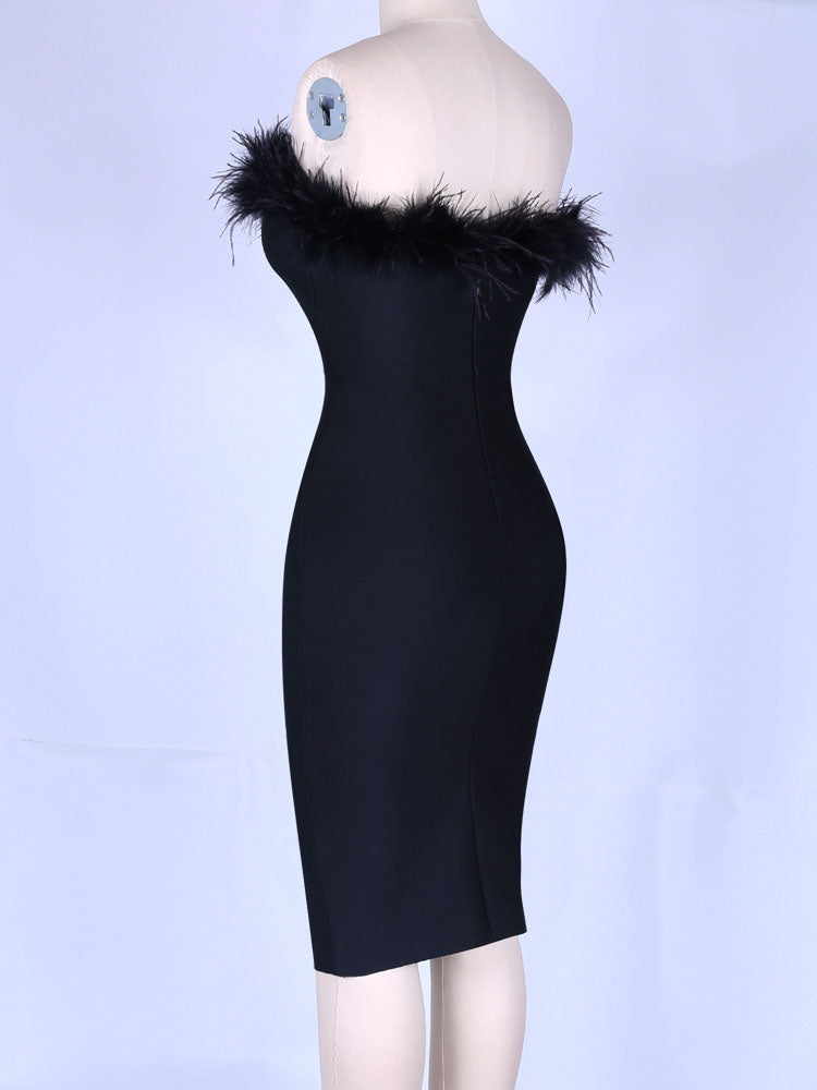 2020 Women Strapless Black Bandage Dress Rayon Feather Sexy Sleeveless Bandage Dress Bodycon Evening Party Dress