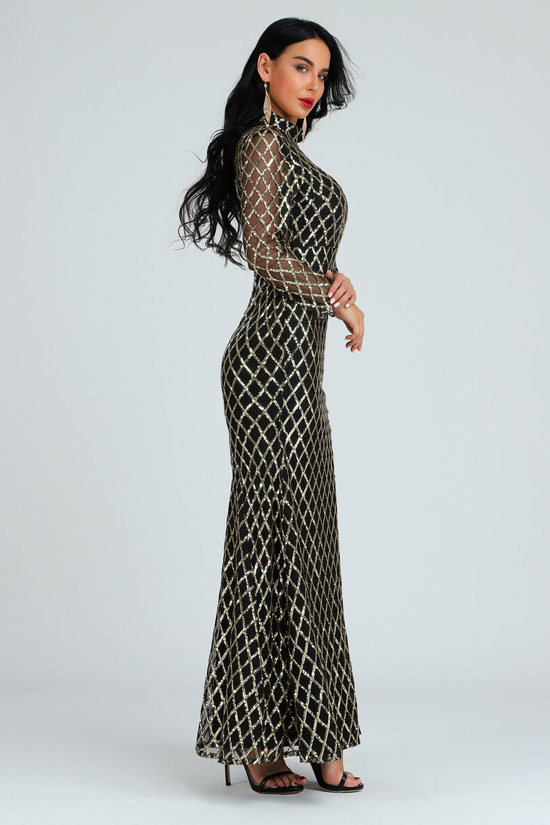 Women Turtleneck Sequined Bandage Dress