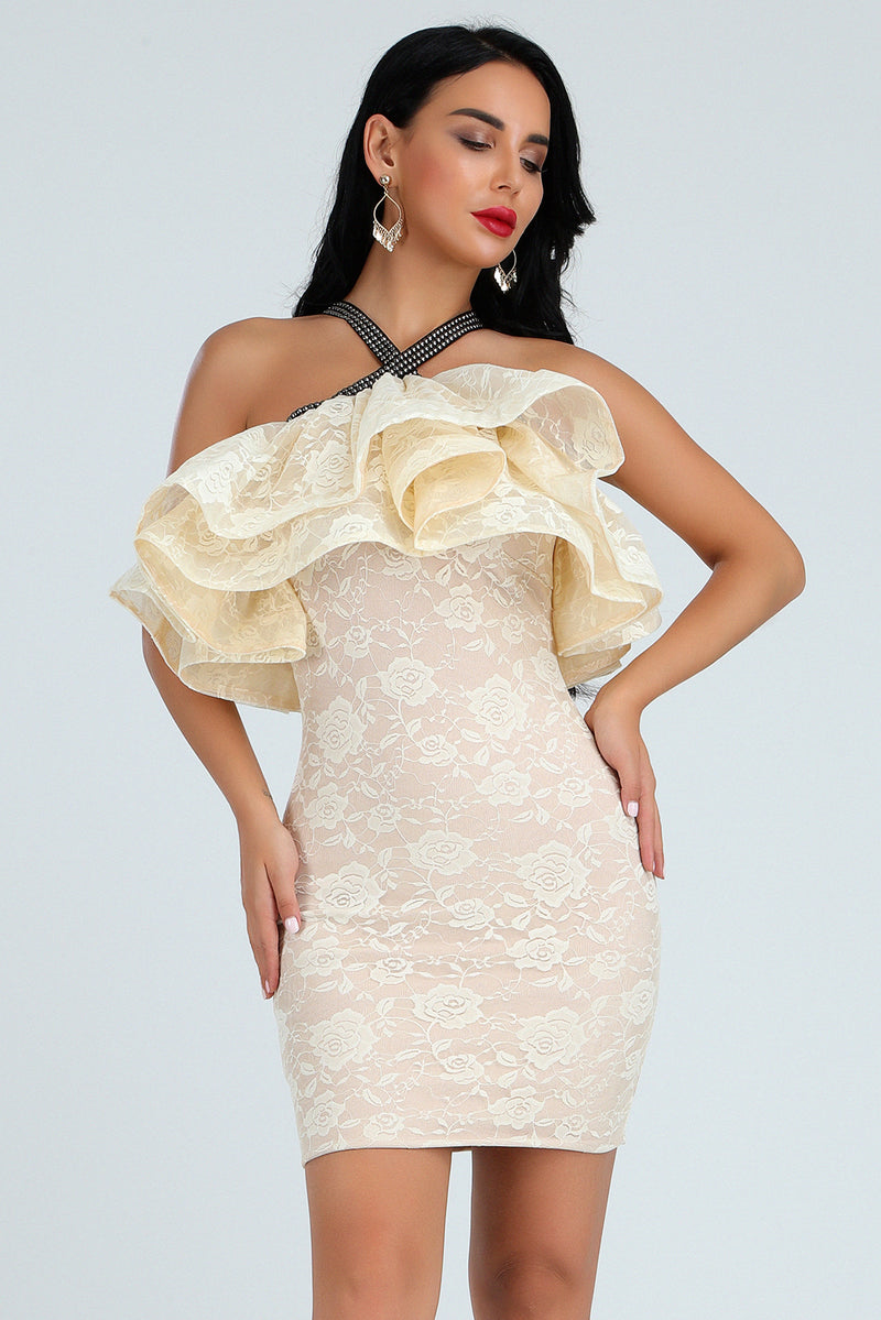 Lace Mini Dress Ladies Off Shoulder Bandage