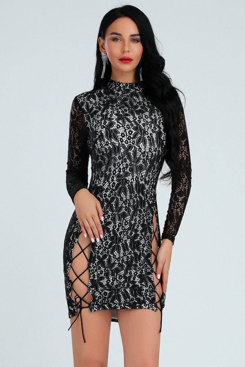 Sexy Long Sleeve Sequins Bandage Dress