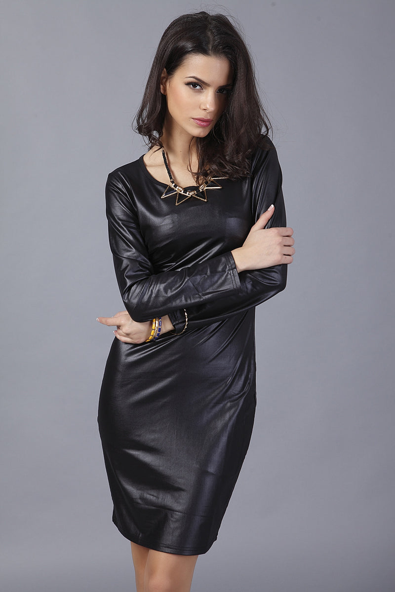 Long Sleeves PU Leather Dress
