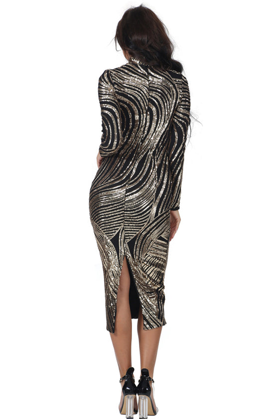 Fashion Sequins Dress Women Slim Long Sleeve Sexy Dress