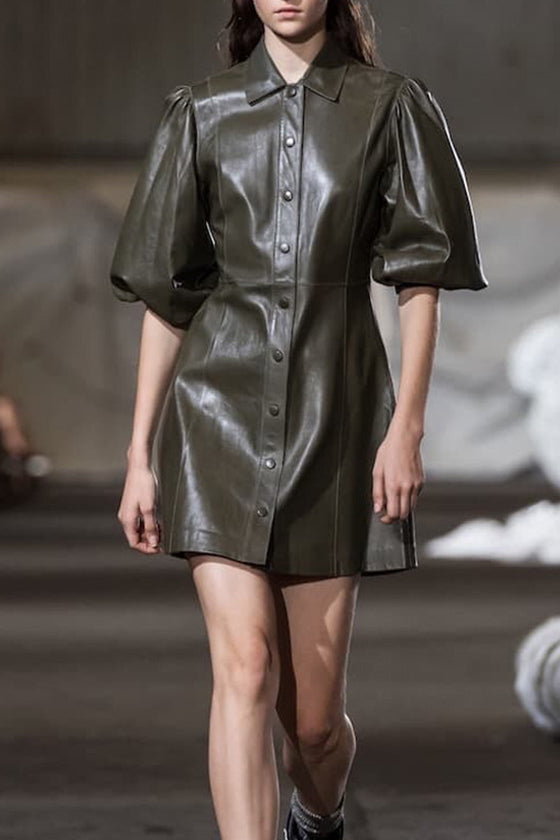 Pockets Avocado Green Temperament PU Dress Europe and America show models 2019