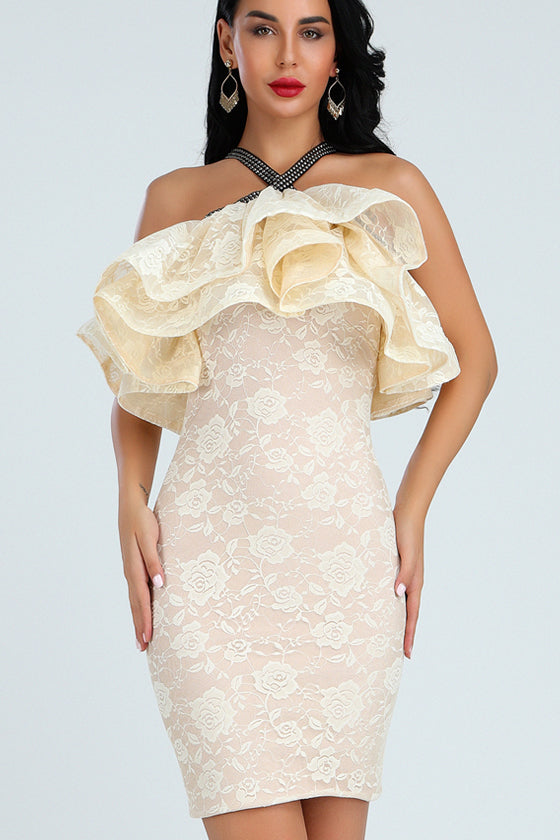 Nude Cross Over Straps Bandage Dress