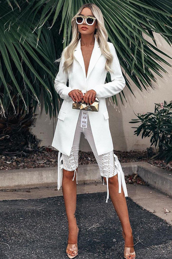 White Blazer And Pants Suit Set