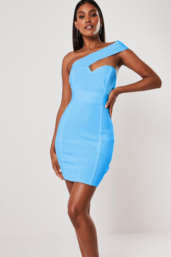Blue One Shoulder Bodycon Summer Dress For Women