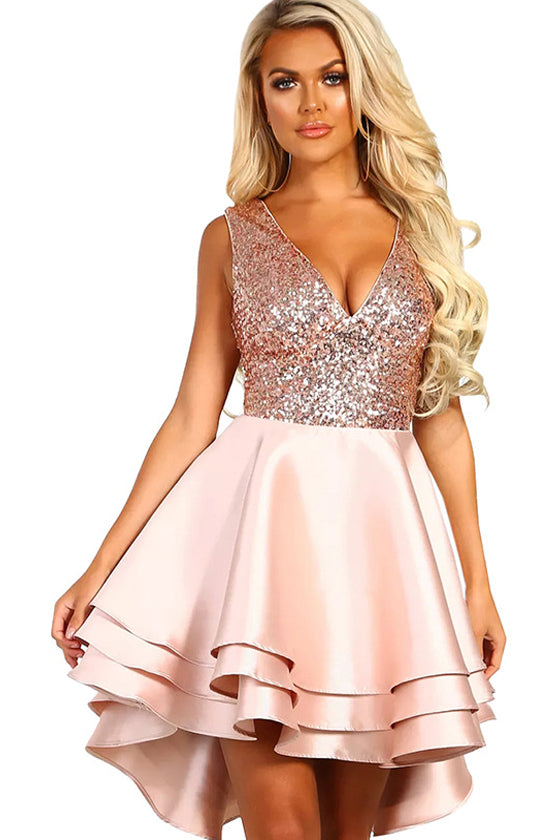 Sequins Sexy V-neck Sleeveless Short Dress A-line skirt sleeveless