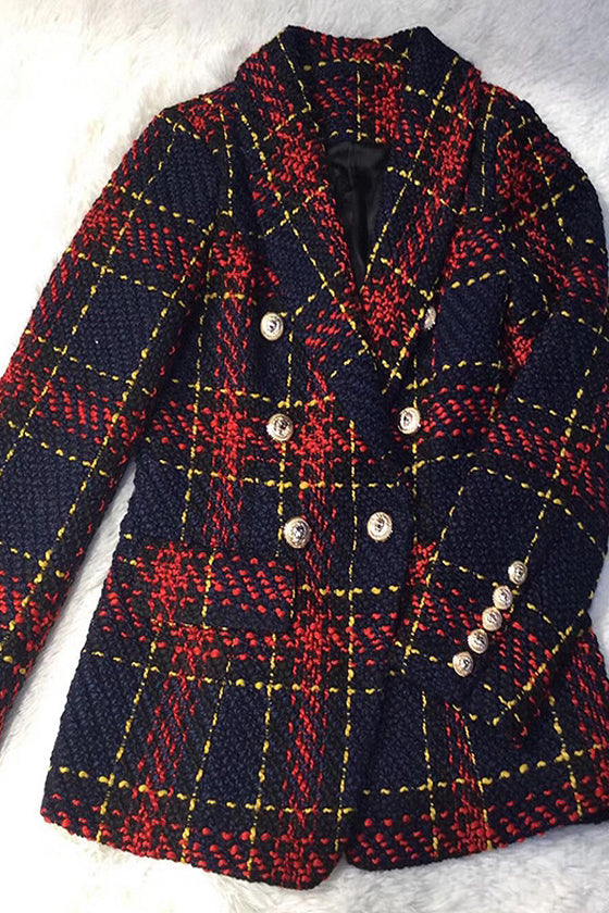 Women's Jacket Line Plaid Weave Blazer Suit female
