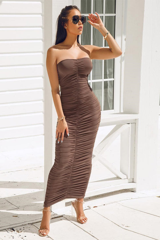 Sexy Strapless Print Folds Irregular Dress