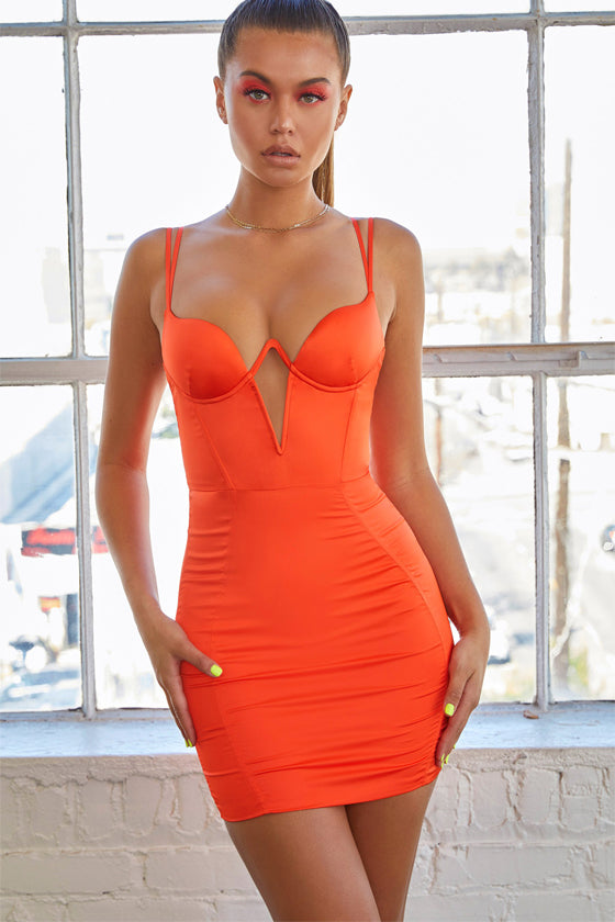 Blue Orange Sexy Strapless Bodycon Midi Summer Dress