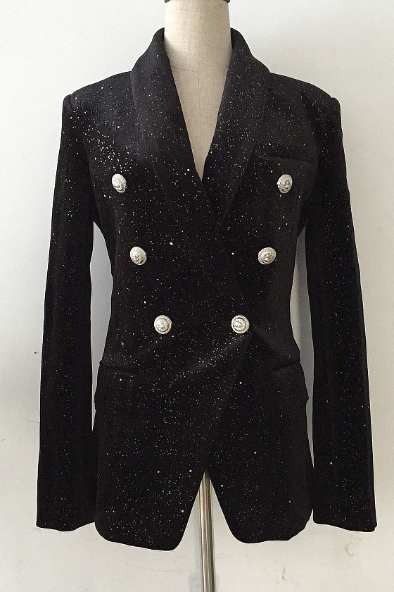 Sequins Women Blazer Elegant Office Double Breasted Suit Jacket