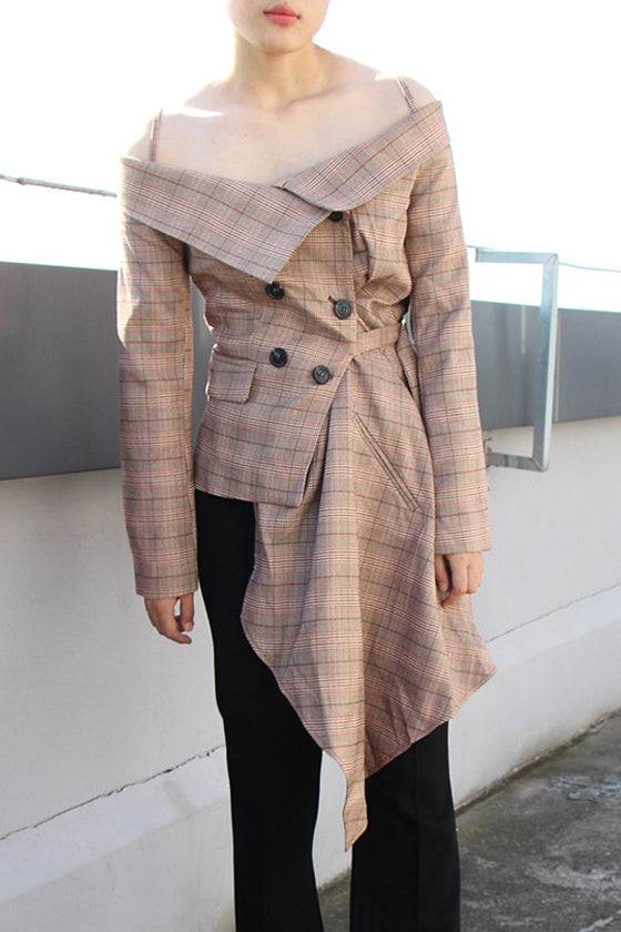 Long-sleeved Plaid Suit Jacket female