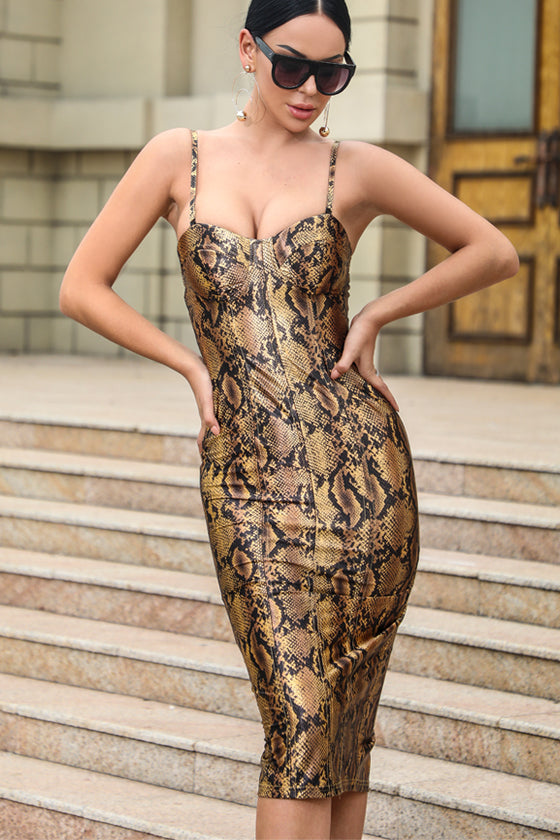 wholesale products Fashion Leopard Print V Neck dress