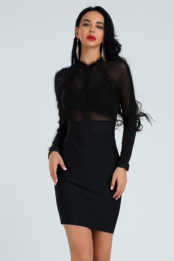 Black Off Shoulder Tassel Bandage Dress