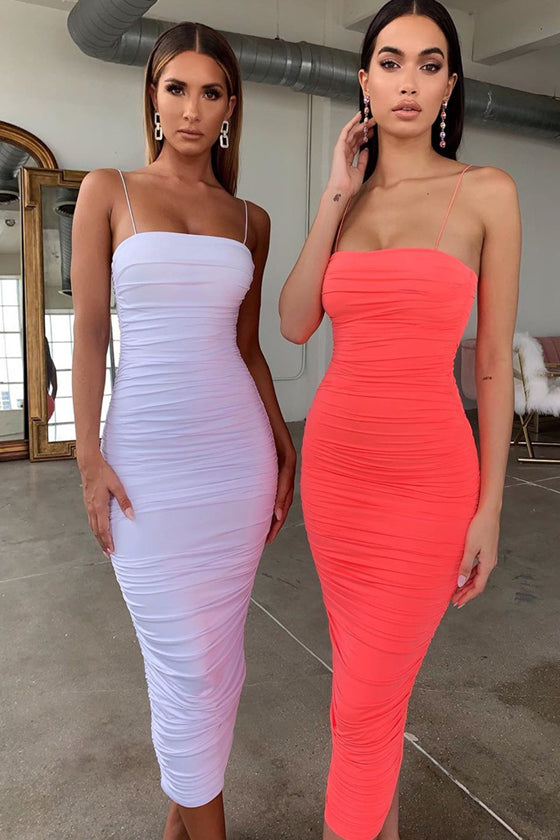 Fashion Pleated Straps Dresses