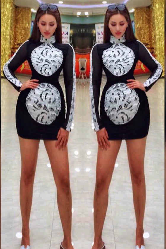 Black Sequin Embroidered Short Fashion lady dress