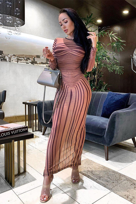Hot Women Sexy Bodycon Dress Stripe Pencil Cocktail Party Dress